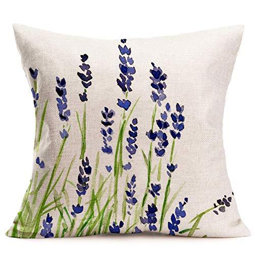 QUEMIN Fundas de cojín púrpura, azul, lavanda, funda para cama, acuarela personalizada, flor romántica, floral, algodón, lino, cuadrado, decorativo, cojín, granja, exterior (lavanda, 18 x 18 cm)