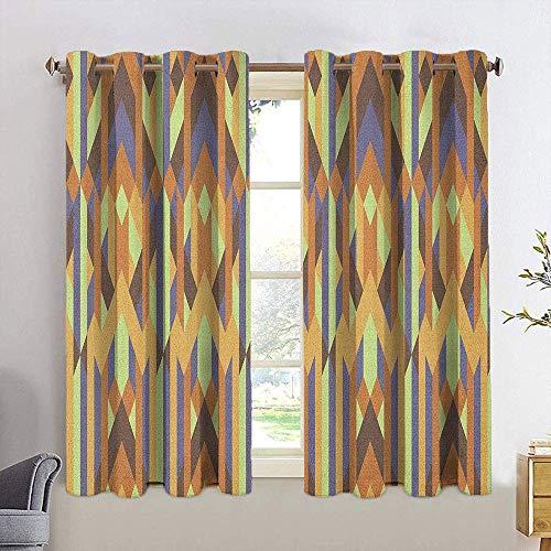 N / A Badezimmer Vorhänge Erdtöne, geometrisches Muster mit Retro-Stil inspiriert von der künstlerischen...