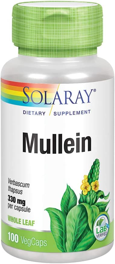 Solaray Mullein Leaf 330mg | Herbal Support for Healthy Respirat