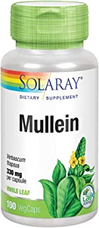 Solaray Mullein Leaf 330mg | Herbal Support for Healthy Respiratory, Bronchial & Immune Function | Vegan | 100 CT
