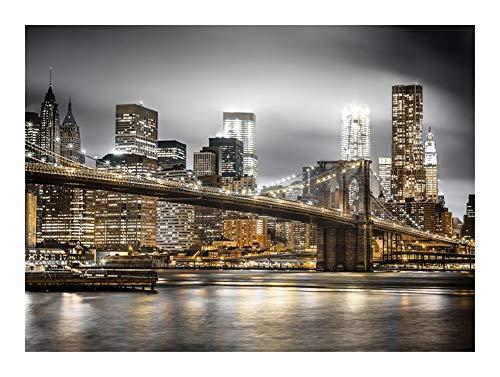 JCCOZ Horizonte de Nueva York, Puente Hermoso en la Noche-Madera Puzzle 500/900/1500/3000 Piezas for Adultos, los Mejores Regalos for los Amigos, Juguetes de la descompresión, Pintura Decorativa