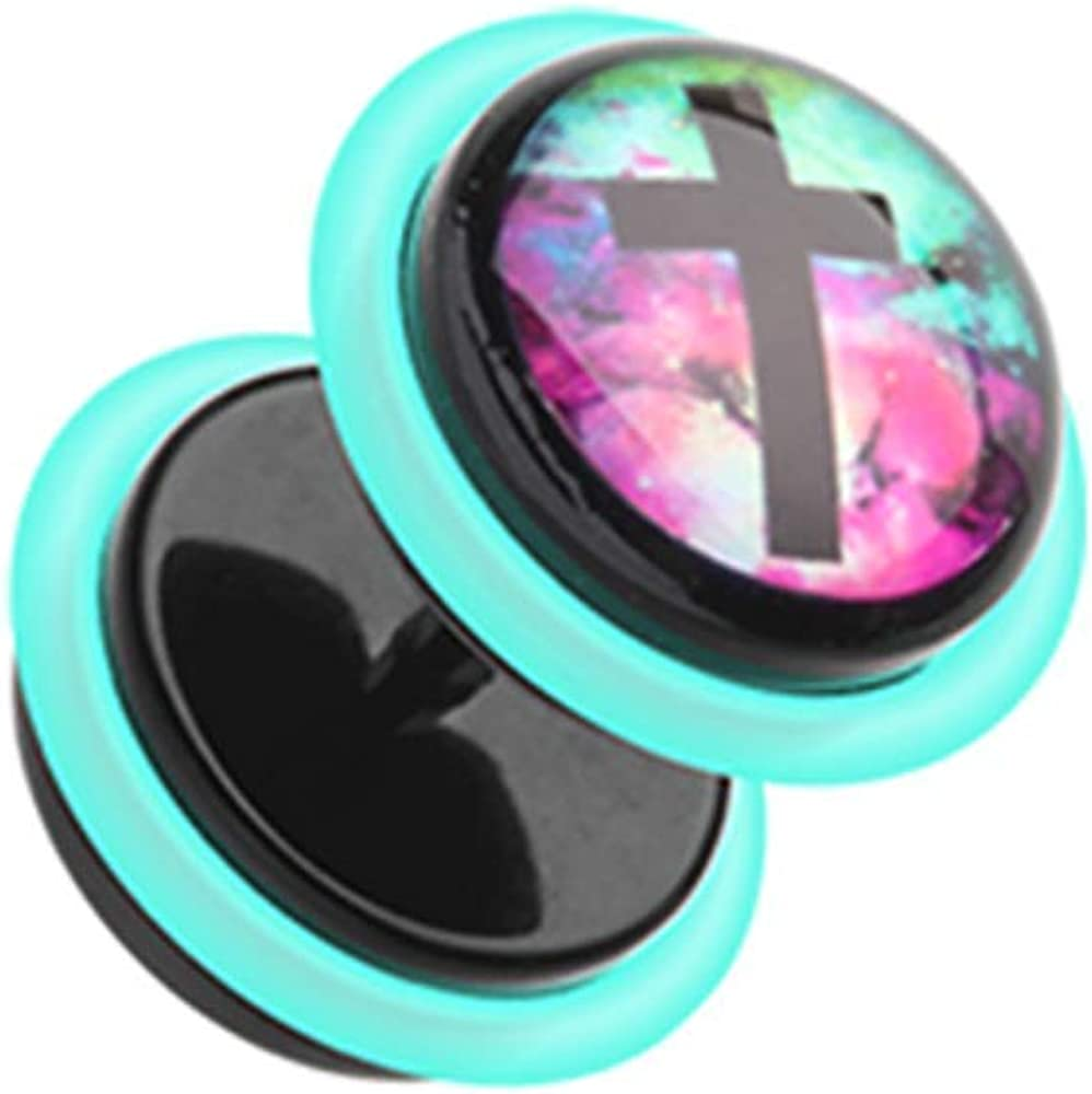 Covet Jewelry Galaxy Cross Acrylic Fake Plug with O-Rings