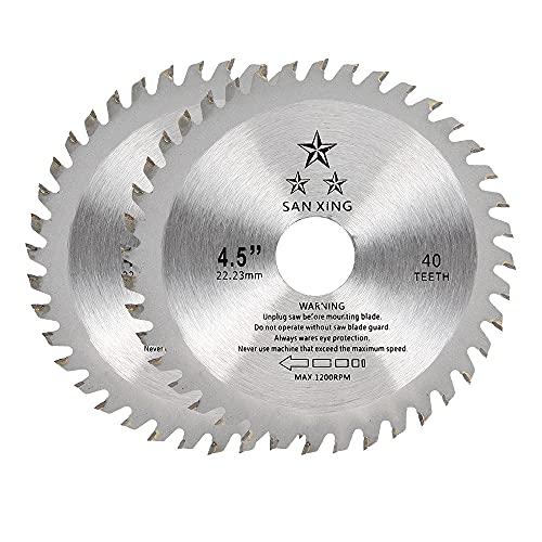 Lama per Sega Circolare per Legno,115 x 22,2mm 40 Denti TCT Disco Taglio in Carburo Lama per Smerigliatrice Angolare per Legno e Plastica