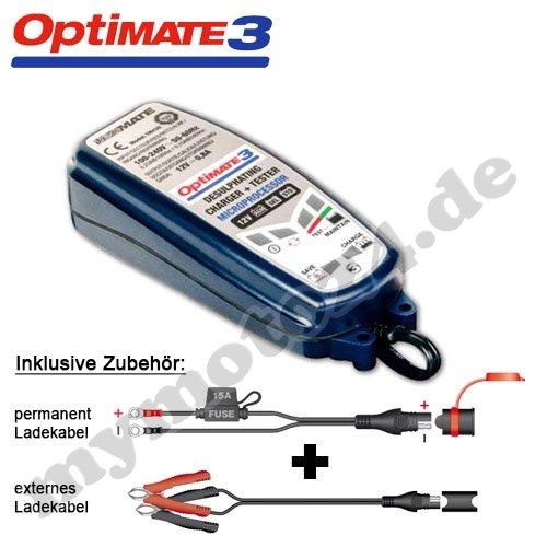 Batterieladegerät Tecmate Optimate 3, Vollständige 12V-Pflege f. kleinere Batterien, TM-430, mit SAE Steckern