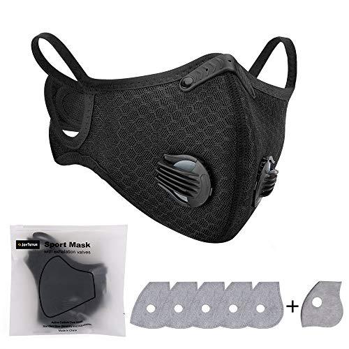 JOYTUTUS Maschera Antipolvere, con 6 Pezzi Filtri Sportiva Maschera Protettiva Lavabile e Riutilizzabile per Corsa, Ciclismo, attività All'aperto