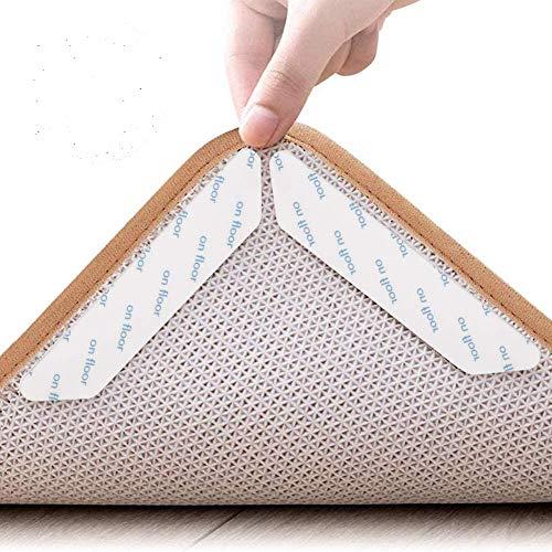 tiopeia 24 Stück Teppichgreifer Antirutschmatte, Anti Rutsch Antirutschmatte, Wiederverwendbare und Washable Rug Gripper, Teppichunterlage Teppich Aufkleber(Weiß)