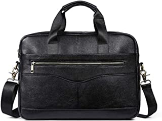 Mens Bag New Men's Solid Color Full Grain Leather Handbag Briefcase Business Casual Men's Bag Cross Section Oblique Head Layer Leather Computer Bag High capacity