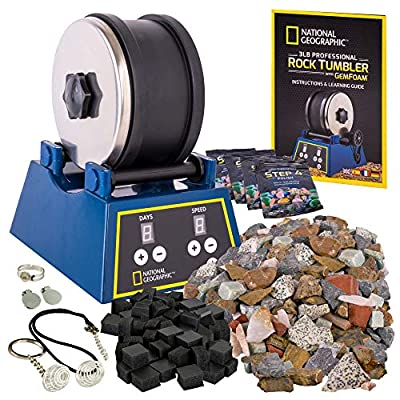 NATIONAL GEOGRAPHIC Rock Tumbler Kits - Includes Rough Gemstones, 4 Polishing Grits, Jewelry Fastenings and Detailed Learning Guide - Great STEM Science Kit for Mineralogy and Geology Enthusiasts from JMW Sales, Inc.