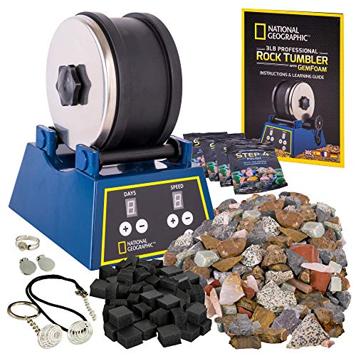 NATIONAL GEOGRAPHIC Rock Tumbler Kit-3LB Extra Large Capacity, 3LB Rough Gemstones 4 Polishing Grits, Jewelry Fastenings, an Educational STEM Science Kit