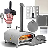 """Deco Chef Outdoor Pizza Oven with 2-in-1 Pizza and Grill Oven Functionality, 13"""" Pizza Stone, Portable 3-Layer Stainless Steel Construction, Pizza Peel, Dough Scraper, Scoop, Slotted Grill"""