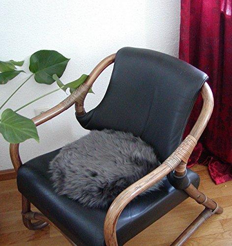 HEITMANN runde Sitzauflage aus australischen Lammfellen, Fellkissen rund anthrazit, Ø ca. 45 cm, waschbar, Haarlänge ca. 70 mm