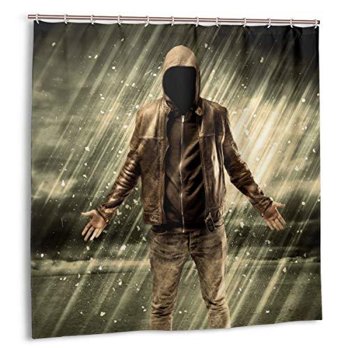 Wdoci Duschvorhang,EIN Inkognito-Kapuzenpirscher,der im Regen Steht,Wasserdicht Bad Vorhang mit Haken 180cmx180cm