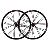 VHHV MTB Juego de Ruedas 26 Pulgadas, Bicicleta de Montaña Pared Doble Llanta Aleación de Aluminio 24H Liberación Rápida para 26' X 1.35~2.125 Neumáticos (Color : Black)