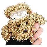 SGVAHY Airpodsケース 第1&2世代に適用 ふわふわ 柔らかい フアー かわいい テディ犬 ウサギ ベアー デザイン おもしろい クール キーチェーン付き ミニ 保護ケース 耐衝撃 エアポッドカバー 人気 (Teddy Khaki)