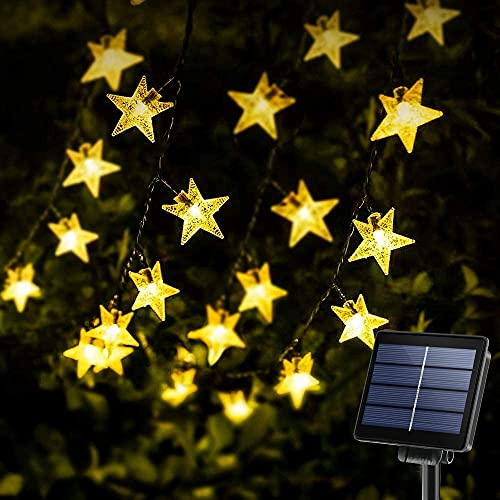 Solar Star String Lights 40Ft 100LED , KeShi 8 Modes Solar Powered Twinkle Fairy Lights, Waterproof Star Twinkle Lights for Outdoor, Gardens, Lawn Patio, Landscape, Christmas, Warm White