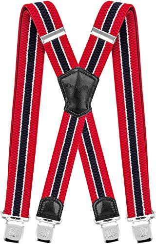 Decalen Hosenträger für Herren Breit 4 cm mit sehr Starken 4 Metall Clip Lang Einheitsgröße für Männer und Damen Einstellbar und Elastisch X Style (Rot Weiß Marineblau)