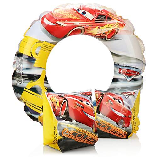 com-four 2-teiliges Schwimmhilfe-Set - Schwimmreifen und Schwimmflügel für Kinder - Schwimm-Zubehör mit Motiven aus dem Disneyfilm Cars