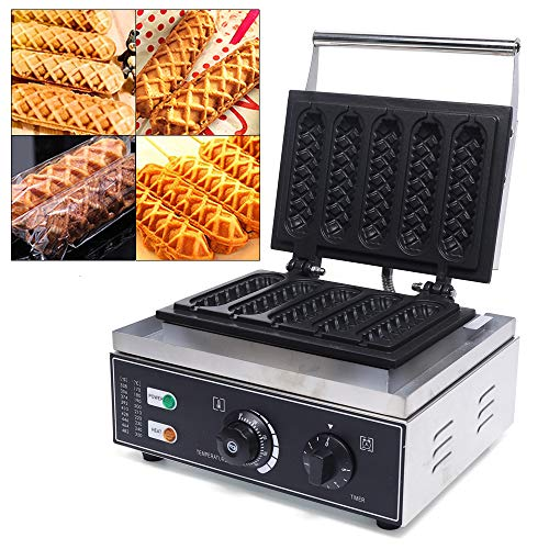 DYRABREST Commercial Mini Donut Maker,Corn Dog Maker,Egg Bubble Waffle Maker,Double-Sided Heating Elettric Donut Maker Non-Stick for homes, Coffee Shops, Cold Drinks Shops, Time Temperature Adjustable (Hot Dog Muffin Machine)