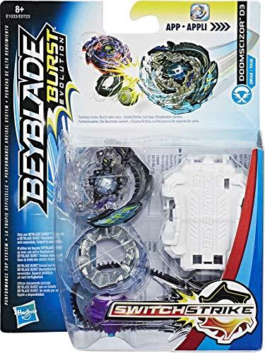 Beyblade E1033 E0723 Switch Strike Starter Pack doomscizor D3, peonzas, color negro