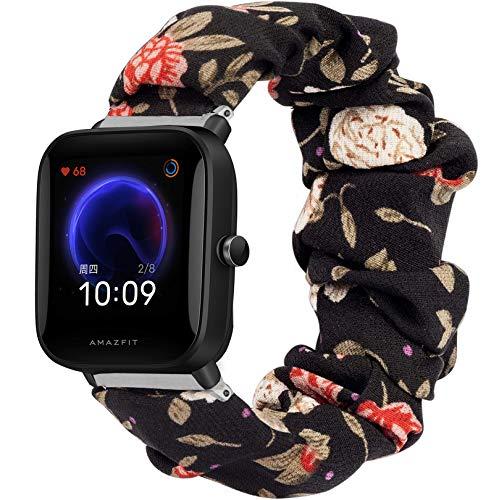 Giaogor Armband Kompatibel mit Amazfit Bip U, weiche Haargummis Uhrenarmband für Amazfit Bip U Smartwatch (Blume)