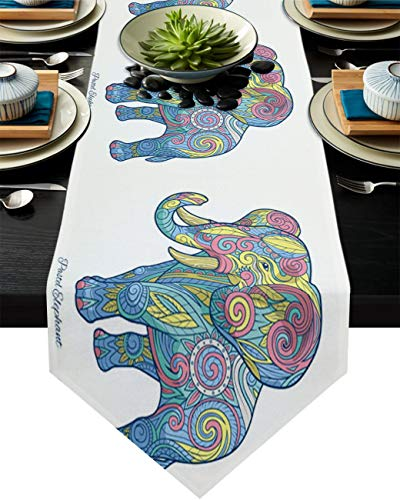 Cotton Linen Burlap Table Runner Africa Ethnic Boho Elephant Home Decorative Table Cloth Cover for Kitchen Dining Banquet Party/Parties Tabletop Picnic Dinner Mandala Tribal Animal 16x72in