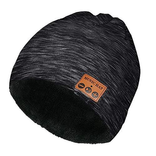 welltop Bluetooth Beanie Mützen, Wireless Bluetooth Musik Mütze Winter Bluetooth Kopfhörer Mütze mit Fleecefutter für Laufen, Skifahren, Wandern