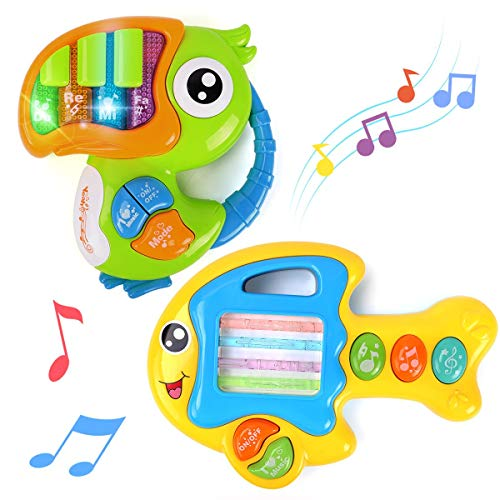 GILOBABY Musical Baby Piano Toys 12 Month Old+ , Early Education Toddler toys for Boys Girls 1 2 3+ Year Old ,Toy Gift 2 PCS Animal Piano Toys, Touch Sense Fish& Keyboard Bird