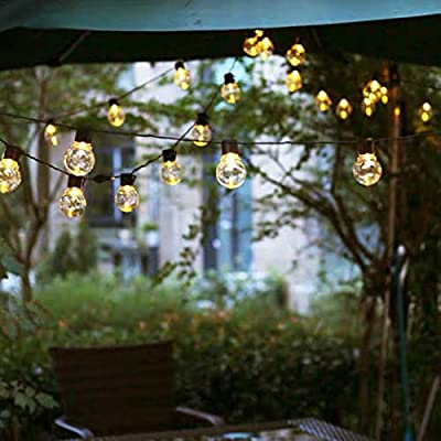 LED Outdoor Lights for Patio,Meideli Clear Globe Outdoor Hanging Lights,Waterproof Dimmable Edison Vintage Plastic Bulbs,8 Modes Porch Market Light for Backyard Wedding Christmas (10, Warm White)