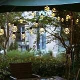 HshDUti Cadena de luces para exteriores, 480 cm, 20 luces LED, bombilla solar para interior y exterior, decoración de fiesta en el jardín, blanco cálido