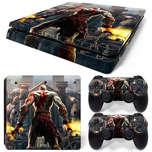 TSWEET Piel de Vinilo para PS4 Slim + Calcomanías Protectoras del Controlador para Playstation 4 Slim para Accesorio Dualshock 4