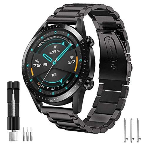 SPGUARD Armband Kompatible mit Huawei Watch GT2 Armband 46mm Huawei Watch GT2e Armband, 22mm Edelstahl Metall Ersatzarmband für Huawei GT 2/Huawei Watch GT2 Pro/GT2e/Huawei Watch GT(Schwarz)