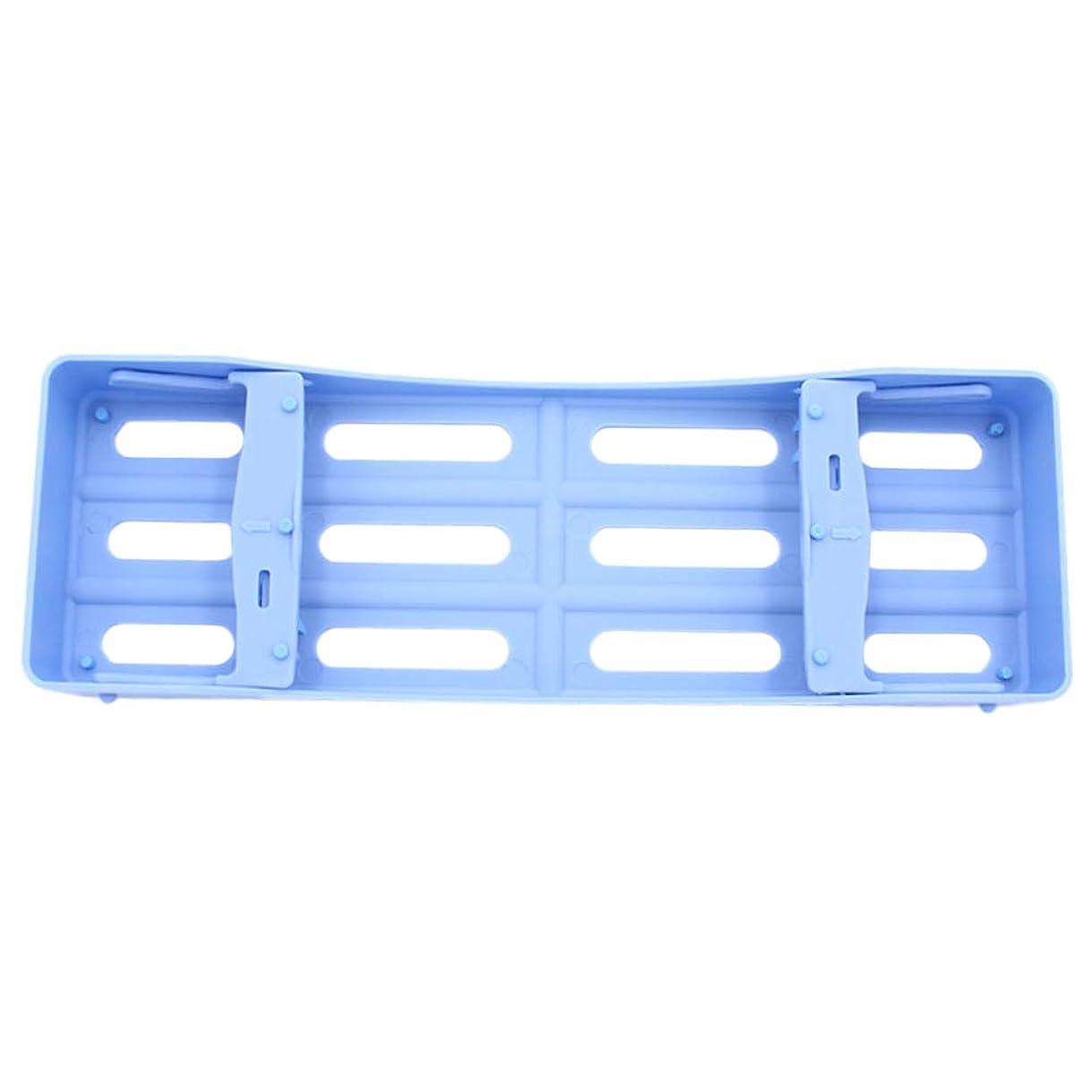 共同選択ご注意過激派HEALLILY プラスチック製の歯科用カセット滅菌消毒トレイ3個用ツール収納用(ブルー)