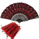 Nsiwem Abanicos Plegables 10 Piezas Abanico Plegable Español de Mano Abanico de Boda con Lentejuelas y Bolsas de Organza para Invitados de Boda de Regalos o Baile(Rojo)
