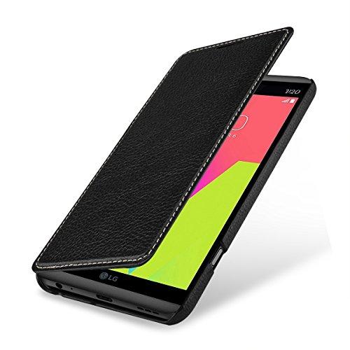 StilGut Book Type Hülle, Hülle Leder-Tasche für LG V20. Seitlich klappbares Flip-Hülle aus Echtleder für das Original LG V20, Schwarz