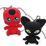 yuailiur 2 Unids/Set Ladybug Cat Plagg Tikki Noir Peluches Lady Bug Adrien Marinette Peluche Animal (Plagg & Tikki)