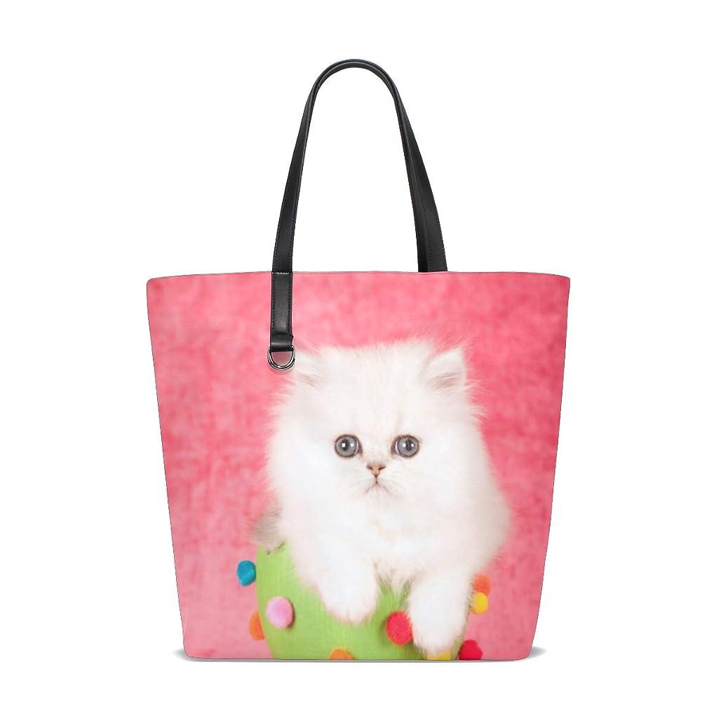 トリムインシデント規範トートバッグ かばん ポリエステル+レザー 白猫柄 可愛い 両面使える 大容量 通勤通学 メンズ レディース