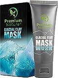 Glacial Clay Face Blackhead Mask – 100% Natural Facemask for Dark Spots Wrinkles & Acne Scar Treatment Deep Pore & Black Head Eliminator Minimizer Remover Facial Cleanser Wash Masks Detox & Brighten