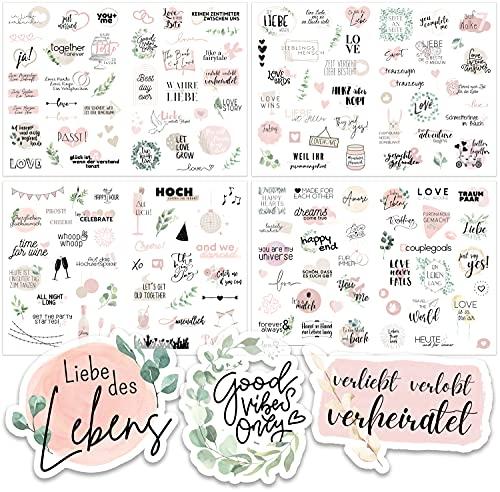 Sticker Hochzeit Gästebuch (164 Motive) - Vintage Hochzeit Aufkleber für Gästebuch oder Fotoalbum mit viel Liebe - Love Stickers für Scrapbook oder Bullet Journal - Wedding Deko mit Herz - Rosa