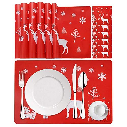 StarTreene 12Pcs Weihnachtstisch Set Tischsets Untersetzer Rentier Weihnachten rutschfest Abwaschbar Hitzebeständigen Schmutzabweisend (Rot-12Pcs)