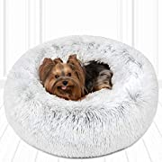 """Friends Forever Donut Cat Bed, Faux Fur Dog Beds for Medium Small Dogs - Self Warming Indoor Round Pillow Cuddler Arctic Silver D23+6"""""""