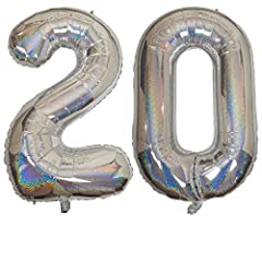 Idea Regalo - DIWULI, XXL giganti Palloncini, Numero 20, Palloncino Sparkling Silver Numeri, Pallone in Foil Argento Anni Gonfiabile Grande Gigante Ragazzo Ragazza, 20° Compleanno, Matrimonio, Festa, Decorazione