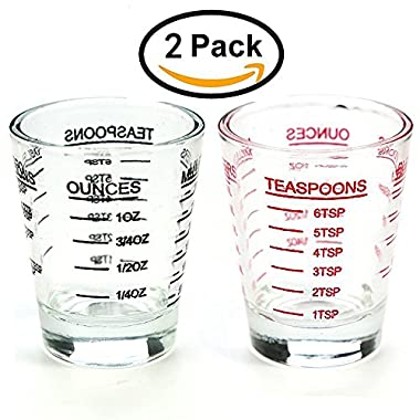 Shot Glasses , Measuring cup Liquid Heavy Glass, 26-Incremental Measurement;Wine Glass,4 Features (Black and Red)