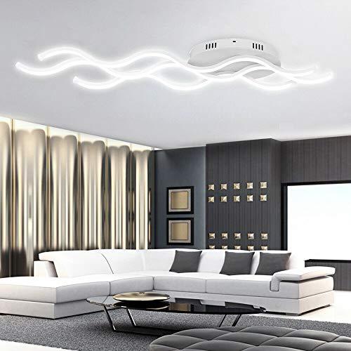 Froadp 30W Wellenförmige LED Hängelampe Acryl Welligkeit Kurve Pendelleuchte Wellenform Deckenleuchte Kronleuchter Lüster für Esszimmer Wohnzimmer(Kaltweiß, ohne Fernsteuerung)