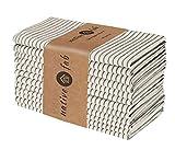 Native Fab Paquete de 12 Servilletas de Tela, servilletas de Algodon 46x46 cm Suave Cómoda Duradera Calidad de Hotel, Servilletas Lavable para Eventos y Uso Diario Beige y Negro