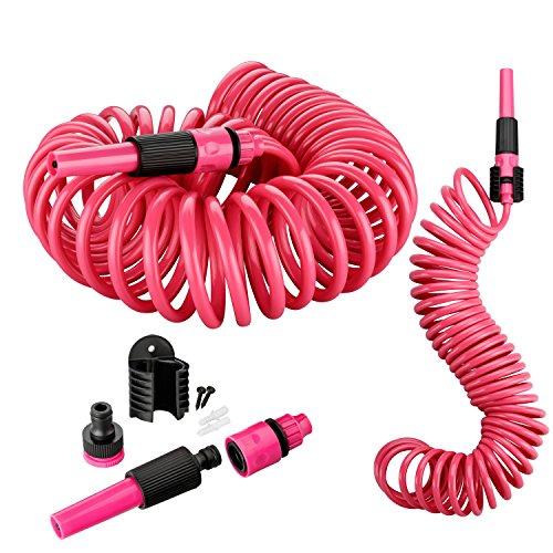 Kinzo 10 Meter Gartenschlauch Komplettset | Spiralschlauch inkl. Spritzdüse, Wandhalterung & Montagematerial | Schnellkupplung | Wasserhahnanschluss 3/4 Zoll (Pink)