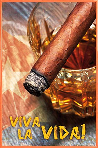 1art1 Bebidas Alcohólicas Póster con Marco (Plástico) - Puro Cubano Y Ron, Viva La Vida (91 x 61cm)