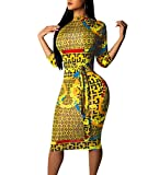 JackenLOVE Frühling und Herbst Midi Kleider Damen 3/4 Arm Kleid mit Bandagen Wickelkleider Mode Afrikanisch Druck Etui Kleider Tunikakleid Cocktailkleid Abendkleider Partykleider