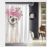 Nonebrand Llama con hermosa corona de flores, cortina de ducha antimoho, tela de poliéster, lavable a máquina, 60 x 72 pulgadas