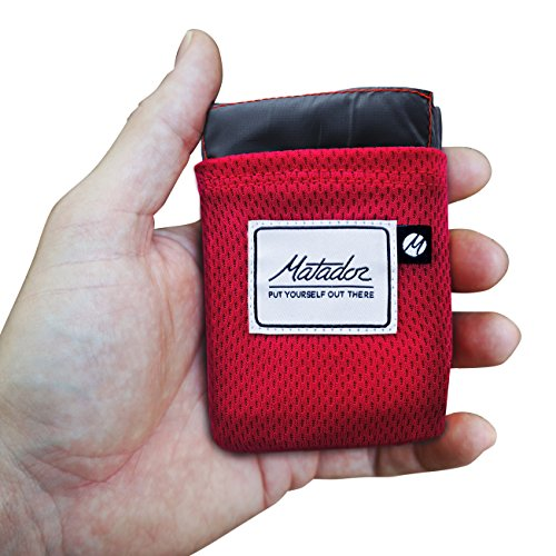 Matador Pocket Blanket 20 New Version Picnic Beach Hiking Camping Water Resistant with Builtin Ground Stakes Original Red