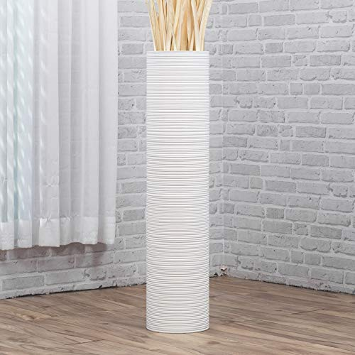 Leewadee Große Bodenvase für Dekozweige hohe Standvase Design Holzvase 90 cm, Mangoholz, weiß